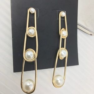 BaubleBar Safety Pin Pearl Earrings